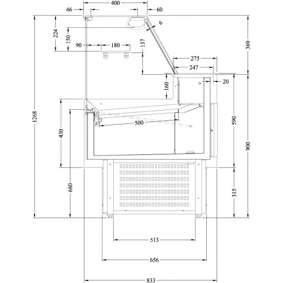 Prodis Araya A15F - 1.5m Flat Glass Deli Serve Over Counter With Refrigerated Under Storage