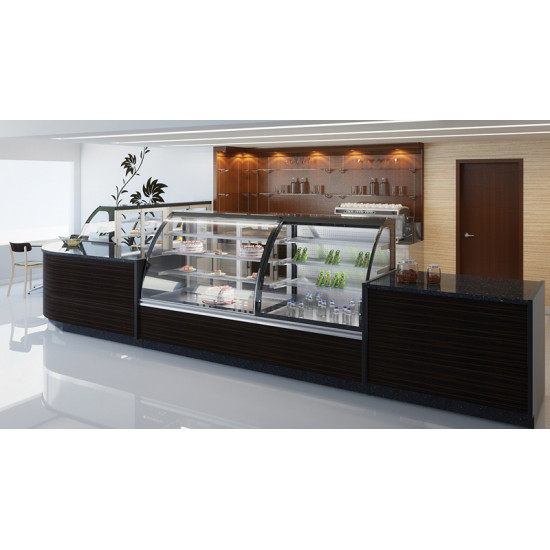 Prodis Calabria CAL10RO - Refrigerated Open Fronted 1m Curved  Patisserie Counter