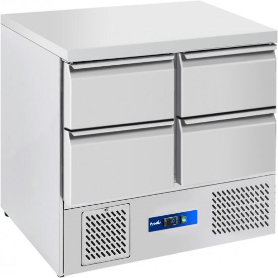 Prodis EC-4DSS 4 Drawer Compact Saladette Counter, Flat Top