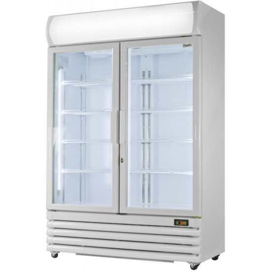 Prodis XD1201 White Double Door Tall Shop Display Fridge
