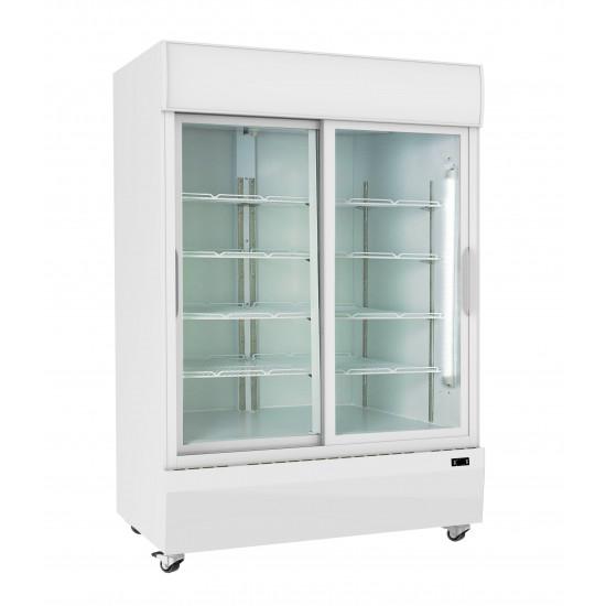 Prodis XD1201S White Double Sliding Door Tall Shop Display Fridge