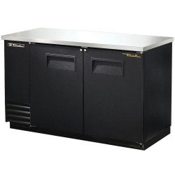 True TBB-2 Double Hinged Solid Door Back Bar Cooler, Black Finish