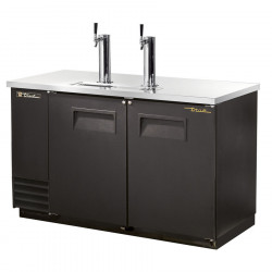 True TDD-2 Double Door, Double Tap Keg Cooler, Black Finish