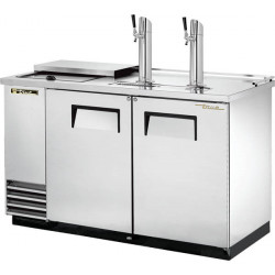 True TDD-2CT-S Double Door, Double Tap Keg Cooler, Club Top, Stainless Steel Finish