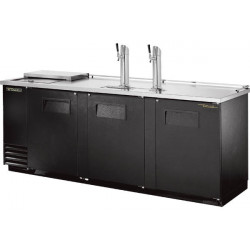 True TDD-4CT Triple Door, Double Tap Keg Cooler, Club Top, Black Finish
