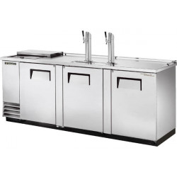 True TDD-4CT-S Triple Door, Double Tap Keg Cooler, Club Top, Stainless Steel Finish