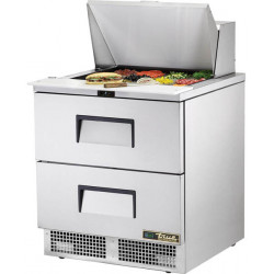 True TFP-32-12M-D-2-HC Two Drawer Heavy Duty Compact Food Preparation Counter, 12 x 1/6GN Pan Top
