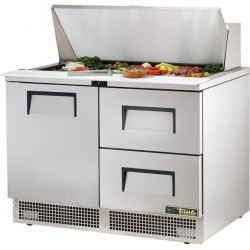 True TFP-48-18M-D-2-HC Two Drawer, One Door, Heavy Duty Compact Food Preparation Counter, 18 x 1/6GN Pan Top