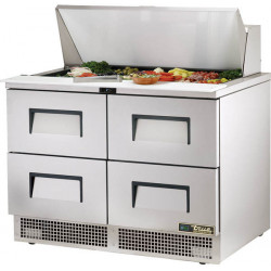True TFP-48-18M-D-4-HC Four Drawer, Heavy Duty Compact Food Preparation Counter, 18 x 1/6GN Pan Top
