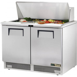 True TFP-48-18M-HC Two Door Heavy Duty Compact Food Preparation Counter, 18 x 1/6GN Pan Top