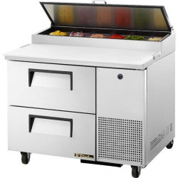 True TPP-44D-2 Two Drawer Heavy Duty Pizza Prep Counter, 6 x 1/3GN Pan Top