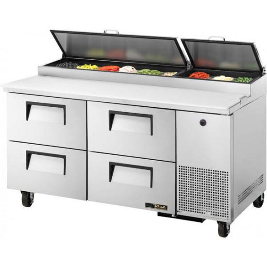 True TPP-67D-4-HC Four Drawer, Heavy Duty Pizza Prep Counter, 9 x 1/3GN Pan Top
