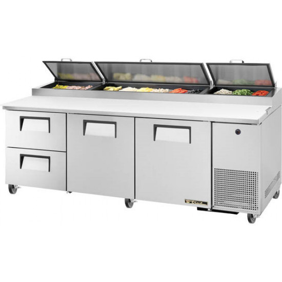 True TPP-AT-93D-2-HC Two Drawer, Two Door Heavy Duty Pizza Prep Counter, 12 x 1/3GN Pan Top