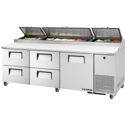 True TPP-AT-93D-4-HC Four Drawer, One Door Heavy Duty Pizza Prep Counter, 12 x 1/3GN Pan Top