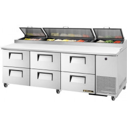 True TPP-AT-93D-6-HC Six Drawer, Heavy Duty Pizza Prep Counter, 12 x 1/3GN Pan Top