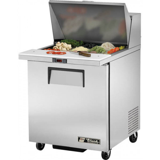 True TSSU-27-12M-B Single Door Heavy Duty Mega Top Salad Prep Unit, 12 x 1/6GN Pan Top