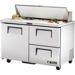 True TSSU-48-12D-2-HC Single Door, Double Drawer Heavy Duty Salad Prep Unit, 12 x 1/6GN Pan Top