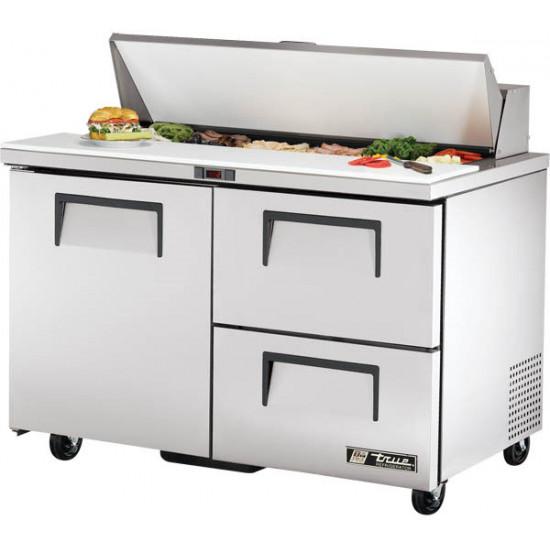 True TSSU-48-12D-2-HC Single Door, Double Drawer Heavy Duty Salad Prep Unit, 12 x 1/6GN Pan Top