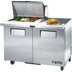 True TSSU-48-12M-B Two Door Heavy Duty Mega Top Salad Prep Unit, 12 x 1/6GN Pan Top