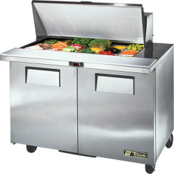 True TSSU-48-18M-B-HC Two Door Heavy Duty Mega Top Salad Prep Unit, 18 x 1/6GN Pan Top