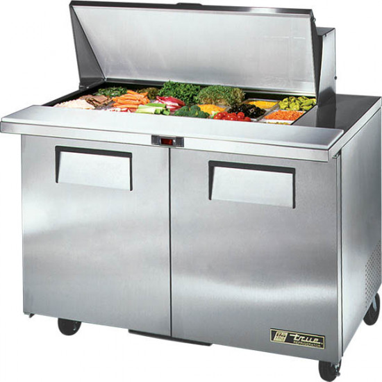 True TSSU-48-18M-B-HC Two Door Heavy Duty Mega Top Salad Prep Unit, 18 x 1/6GN Pan Top