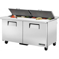 True TSSU-60-16-DS-ST Two Door Heavy Duty, Dual Sided, Split Top Salad Prep Unit, 16 x 1/6GN Pan Top