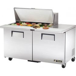 True TSSU-60-18M-B Two Door Heavy Duty Mega Top Salad Prep Unit, 18 x 1/6GN Pan Top