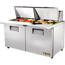 True TSSU-60-24M-B-ST Two Door Heavy Duty Mega Top,Slip Top, Salad Prep Unit, 24 x 1/6GN Pan Top