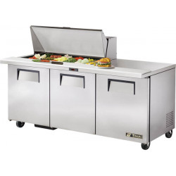 True TSSU-72-18M-B Three Door Heavy Duty Mega Top Salad Prep Unit, 18 x 1/6GN Pan Top