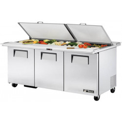 True TSSU-72-30M-B-DS-ST Three Door Heavy Duty, Dual Sided, Split Top, Mega Top Salad Prep Unit, 30 x 1/6GN Pan Top